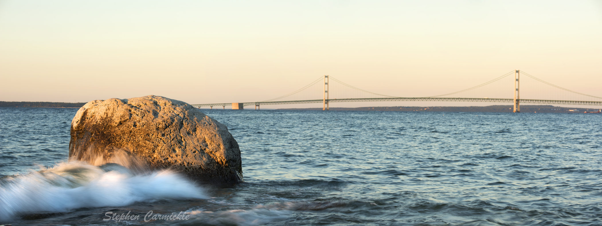 Lake Michigan McGulpin Rock Point Mackinac Bridge Sunset Pure Michigan